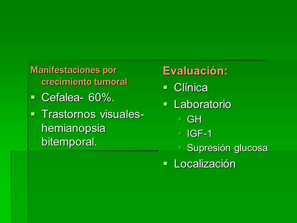 Trastornos visuales- hemianopsia bitemporal. Evaluación: Clínica