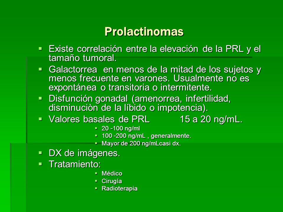 ProlactinomasExiste correlación entre la elevación de la PRL y el tamaño tumoral.
