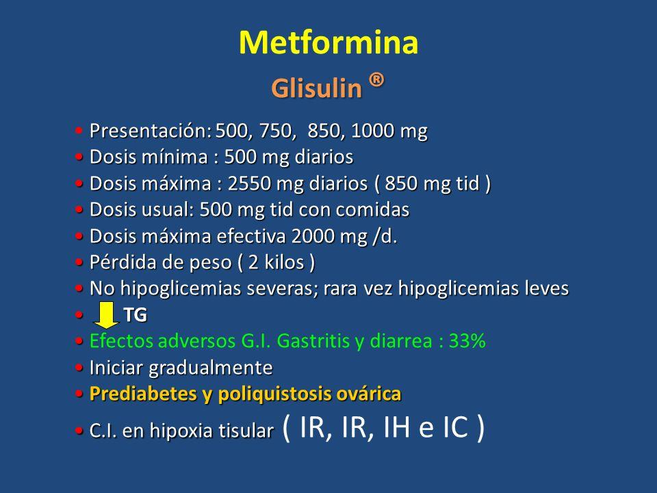 Metformina Glisulin ® Presentación: 500, 750, 850, 1000 mg