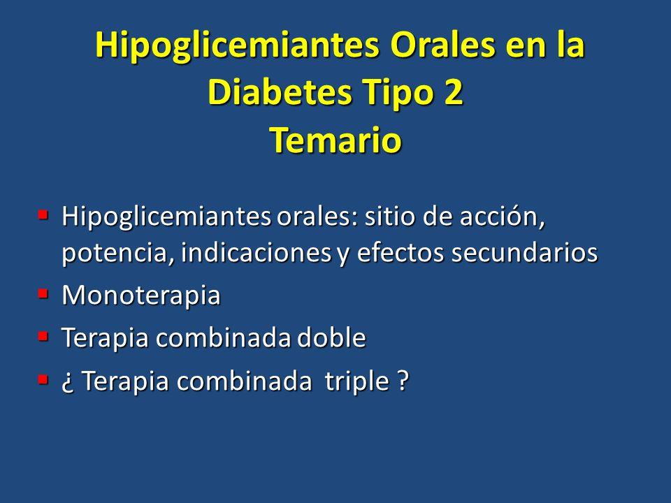 Hipoglicemiantes Orales en la Diabetes Tipo 2 Temario
