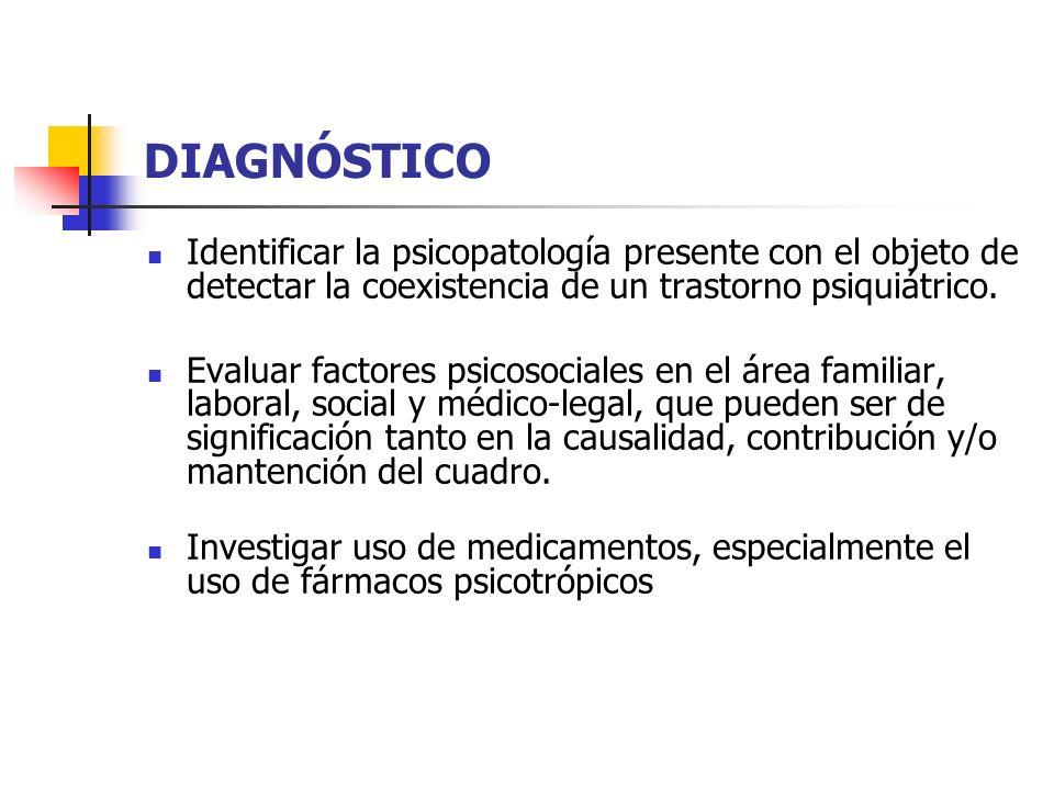 DIAGNÓSTICO Identificar la psicopatología presente con el objeto de detectar la coexistencia de un trastorno psiquiátrico.