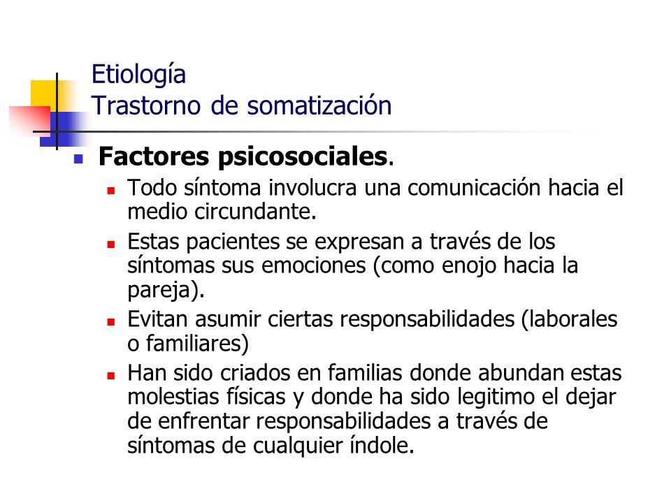 Etiología Trastorno de somatización