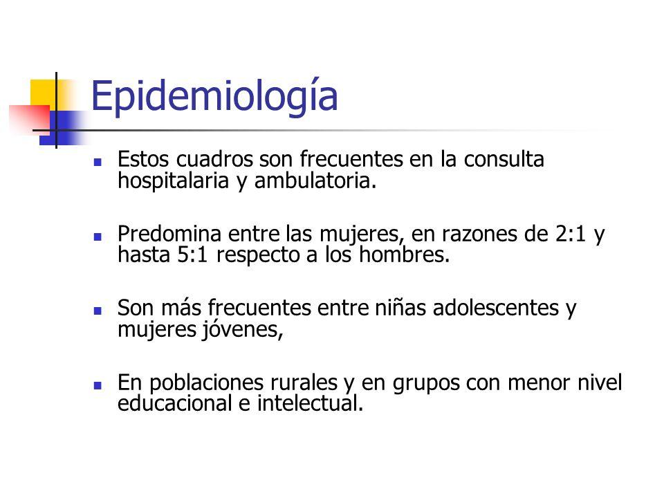 Epidemiología Estos cuadros son frecuentes en la consulta hospitalaria y ambulatoria.