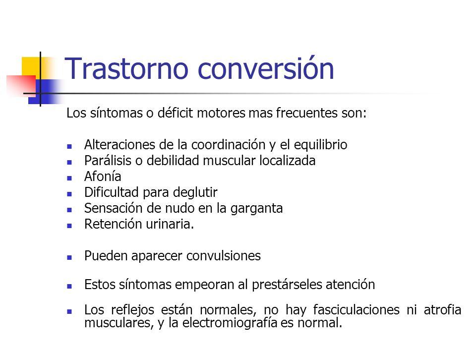 Trastorno conversiónLos síntomas o déficit motores mas frecuentes son: Alteraciones de la coordinación y el equilibrio.