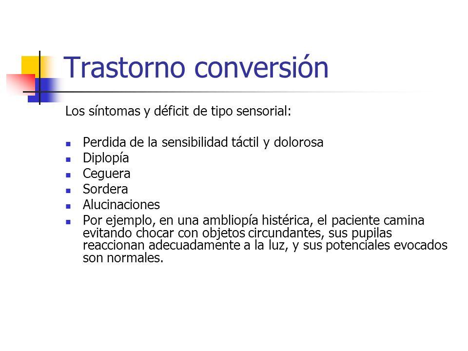 Trastorno conversión Los síntomas y déficit de tipo sensorial: