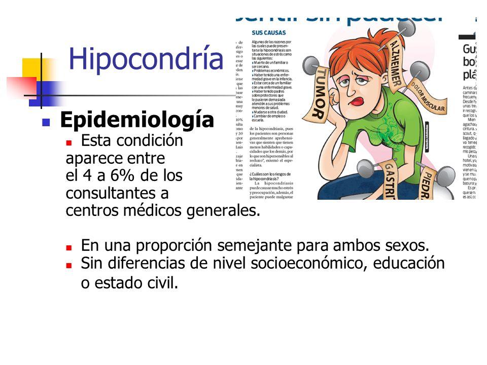 Hipocondría Epidemiología Esta condición aparece entre