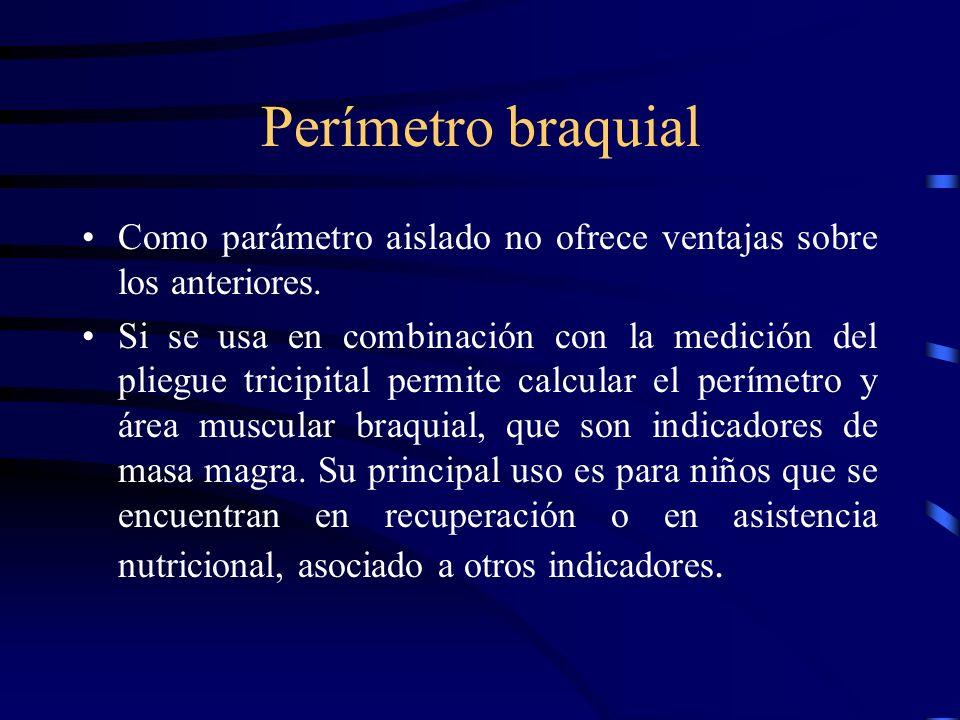 Perímetro braquialComo parámetro aislado no ofrece ventajas sobre los anteriores.
