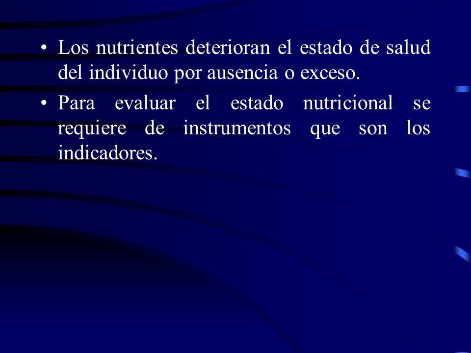 Los nutrientes deterioran el estado de salud del individuo por ausencia o exceso.
