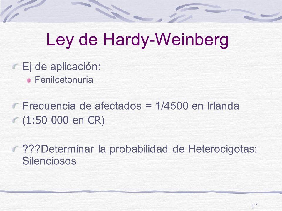 Ley de Hardy-Weinberg Ej de aplicación: