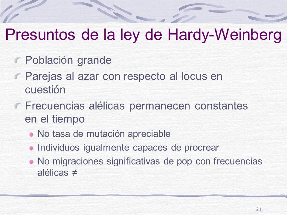 Presuntos de la ley de Hardy-Weinberg