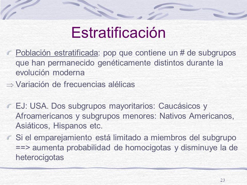 Estratificación Población estratificada: pop que contiene un # de subgrupos que han permanecido genéticamente distintos durante la evolución moderna.