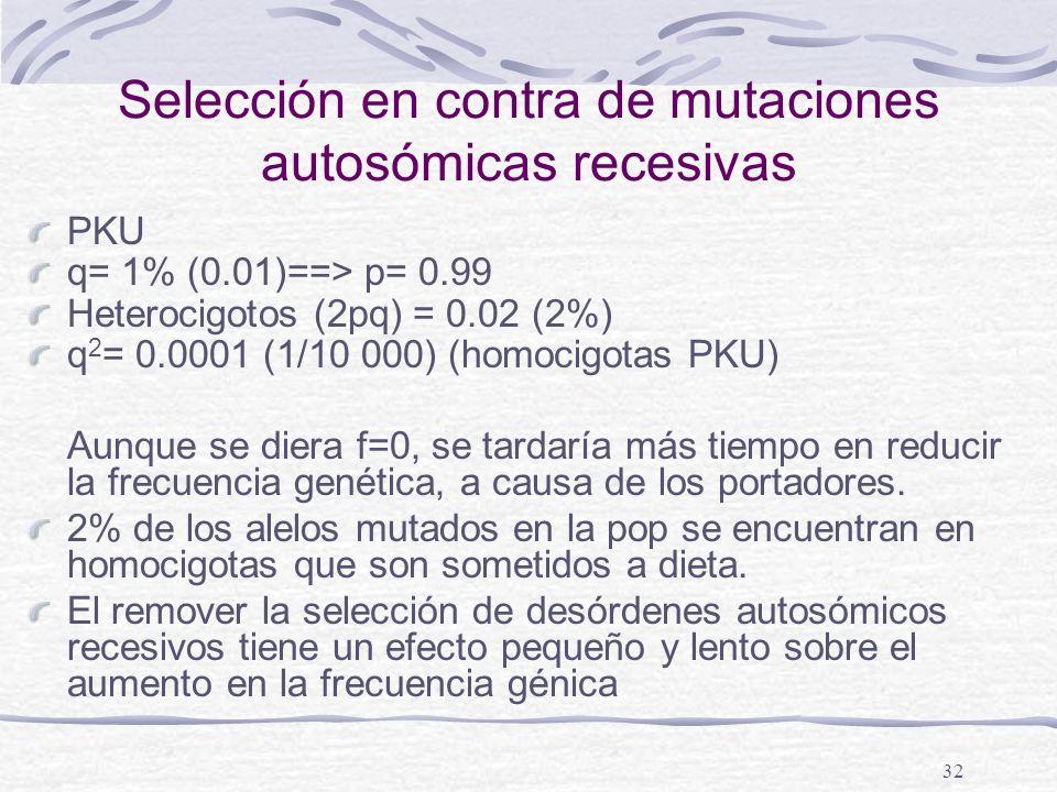 Selección en contra de mutaciones autosómicas recesivas