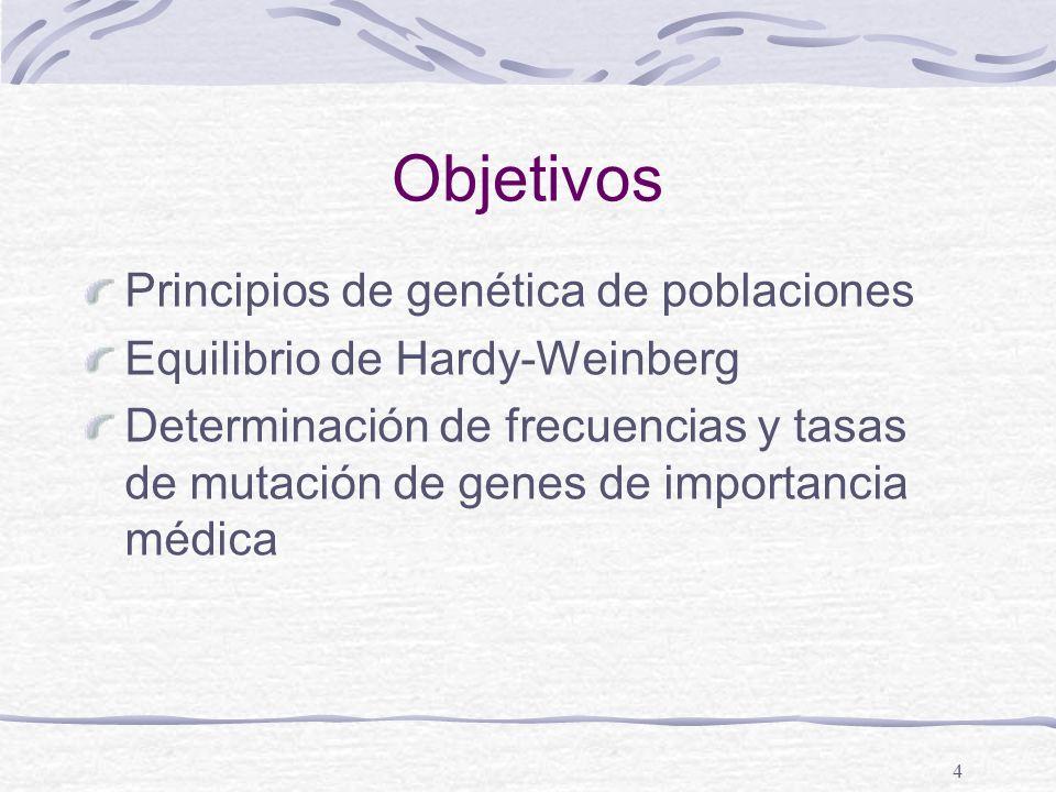 Objetivos Principios de genética de poblaciones