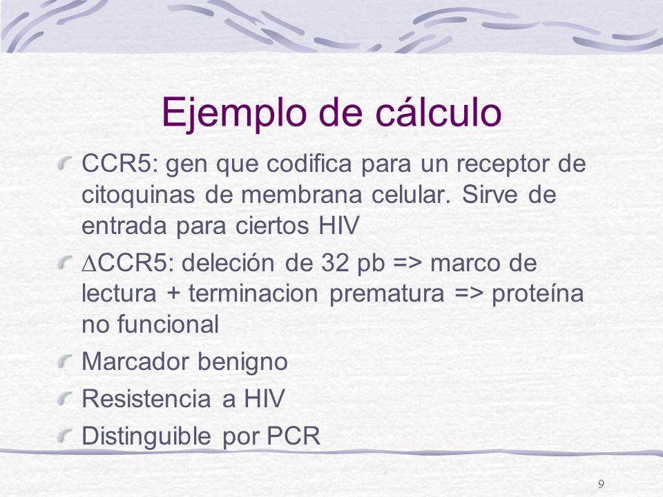 Ejemplo de cálculo CCR5: gen que codifica para un receptor de citoquinas de membrana celular. Sirve de entrada para ciertos HIV.