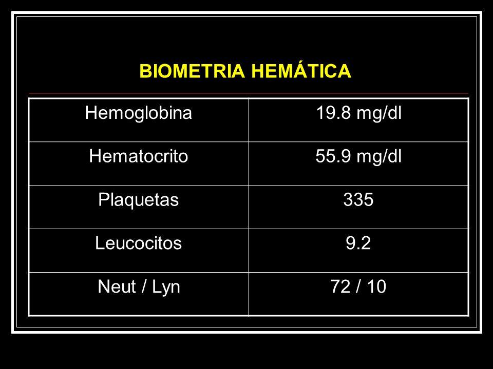 BIOMETRIA HEMÁTICA Hemoglobina 19.8 mg/dl Hematocrito 55.9 mg/dl