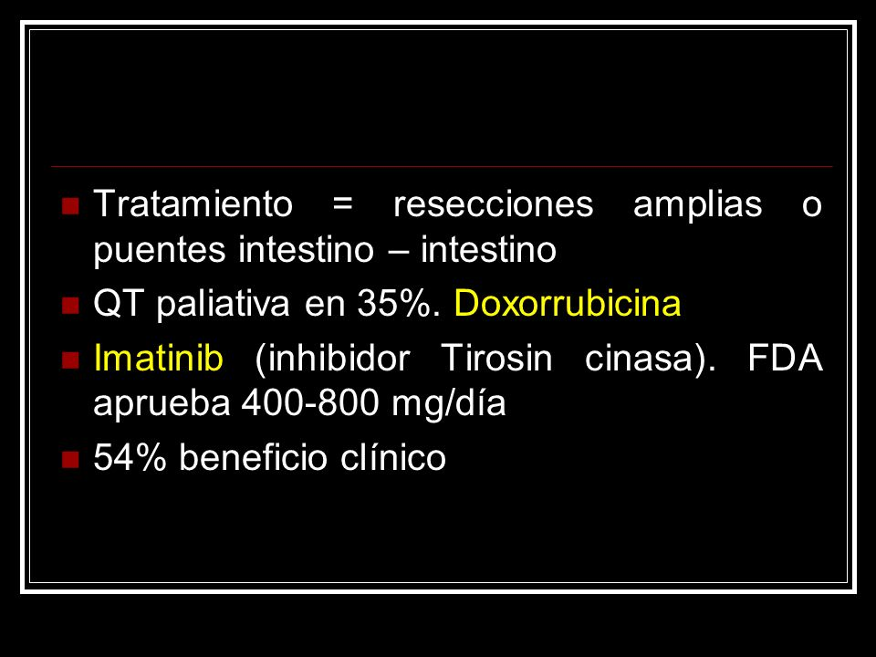 Tratamiento = resecciones amplias o puentes intestino – intestino