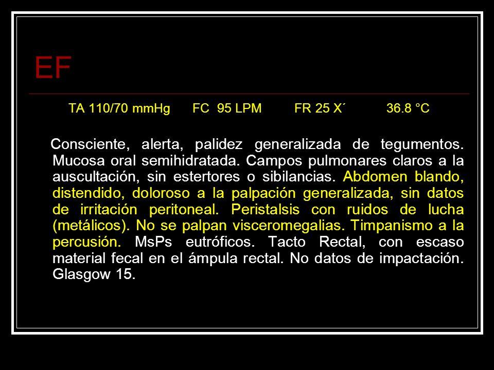 EF TA 110/70 mmHg FC 95 LPM FR 25 X´ 36.8 °C.