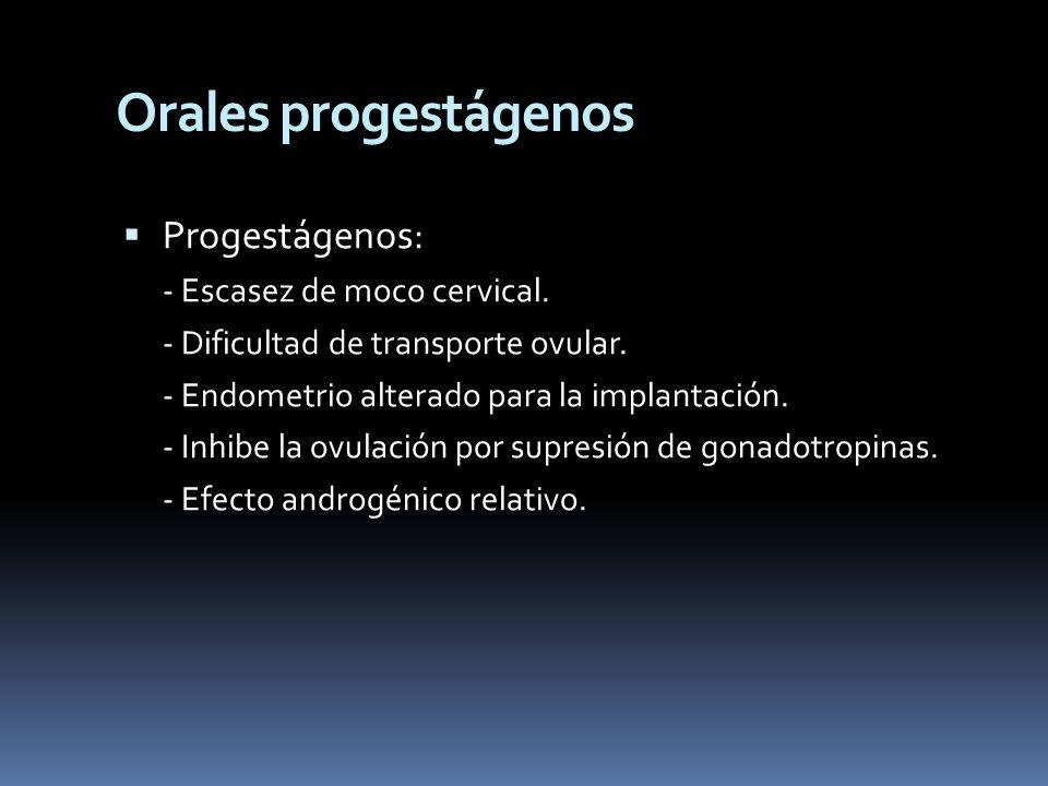Orales progestágenos Progestágenos: - Escasez de moco cervical.