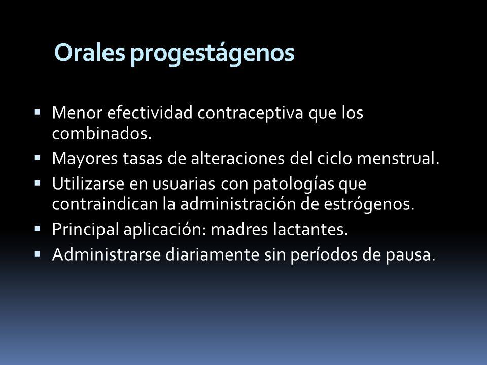 Orales progestágenos Menor efectividad contraceptiva que los combinados. Mayores tasas de alteraciones del ciclo menstrual.