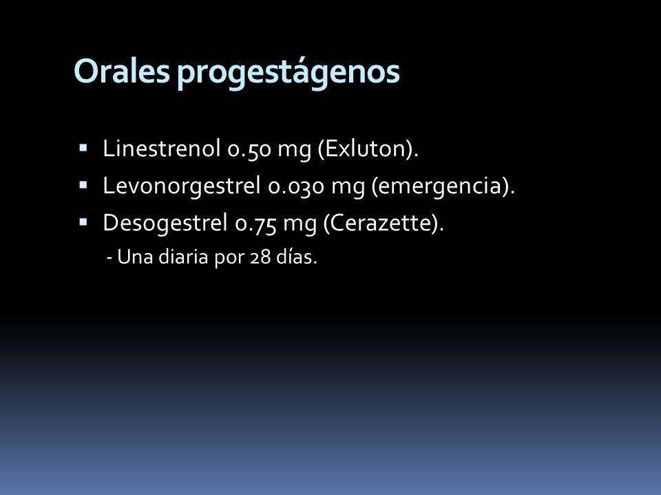 Orales progestágenos Linestrenol 0.50 mg (Exluton).