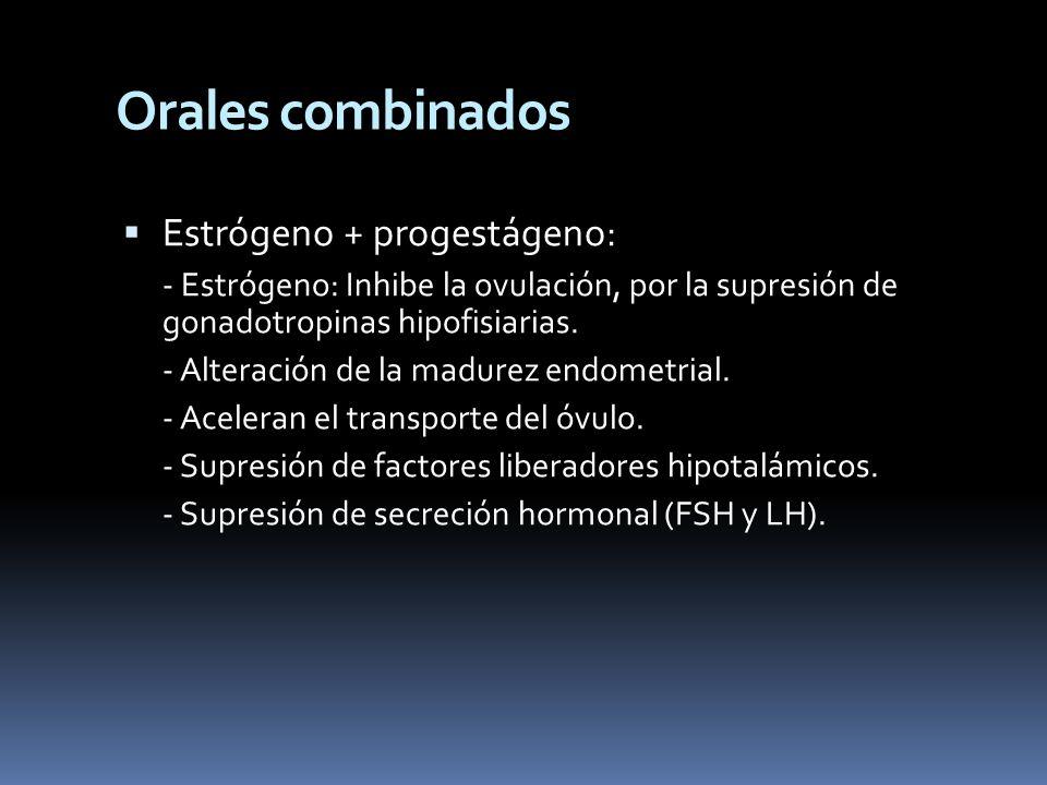 Orales combinados Estrógeno + progestágeno: