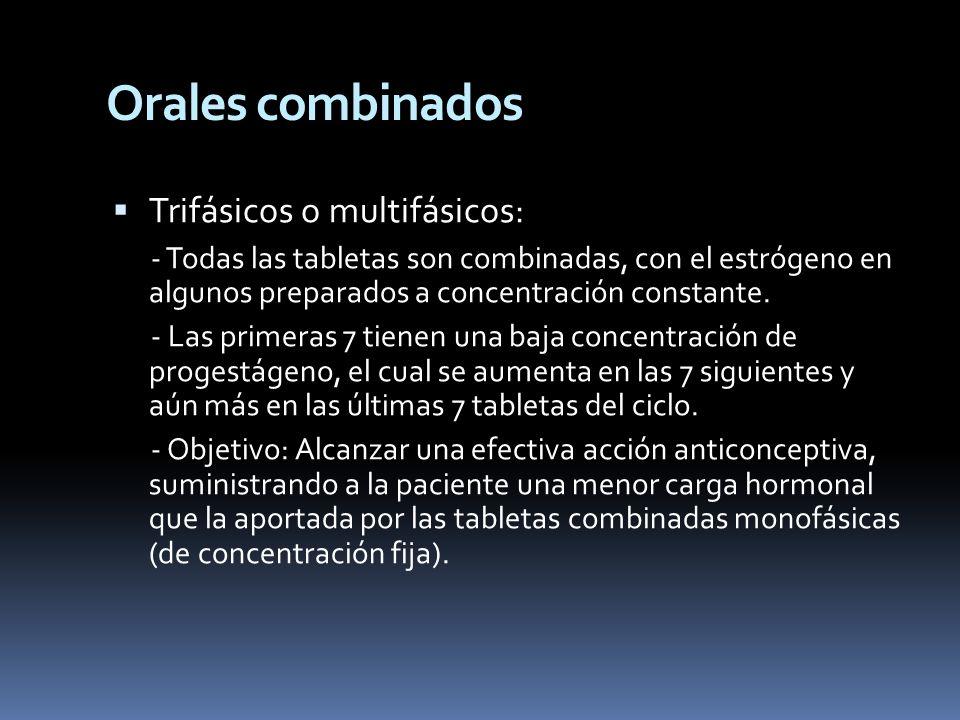 Orales combinados Trifásicos o multifásicos:
