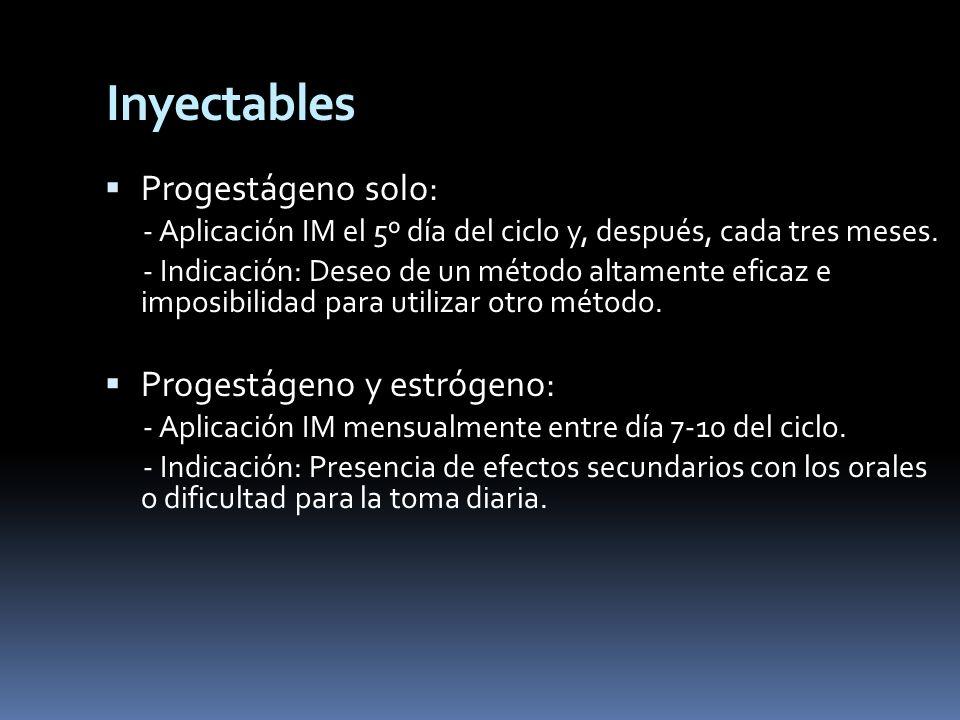 Inyectables Progestágeno solo: Progestágeno y estrógeno:
