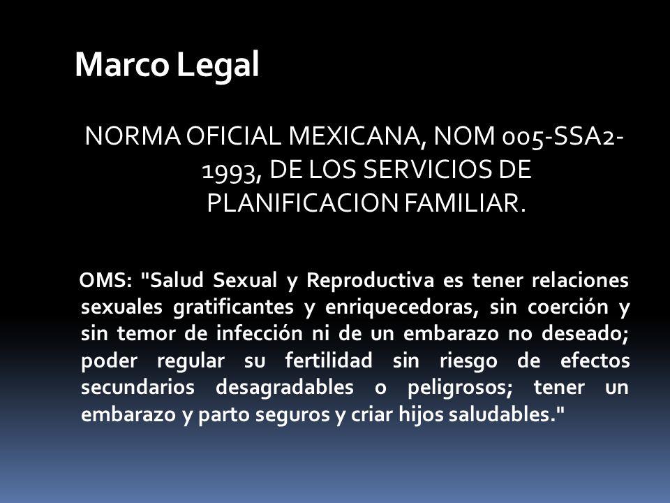 Marco Legal NORMA OFICIAL MEXICANA, NOM 005-SSA2- 1993, DE LOS SERVICIOS DE PLANIFICACION FAMILIAR.