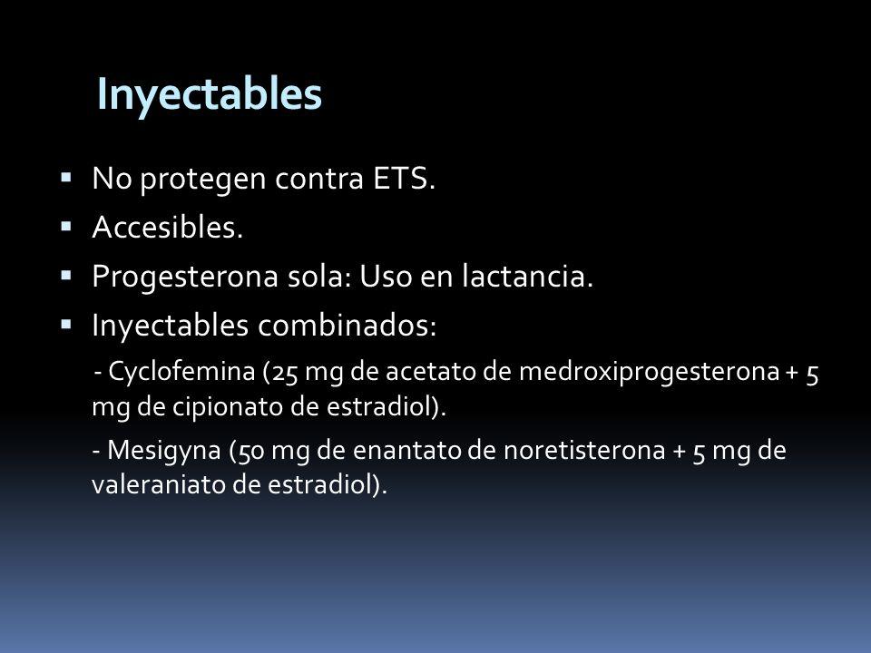 Inyectables No protegen contra ETS. Accesibles.