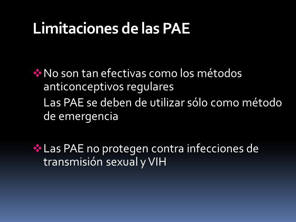 Limitaciones de las PAE