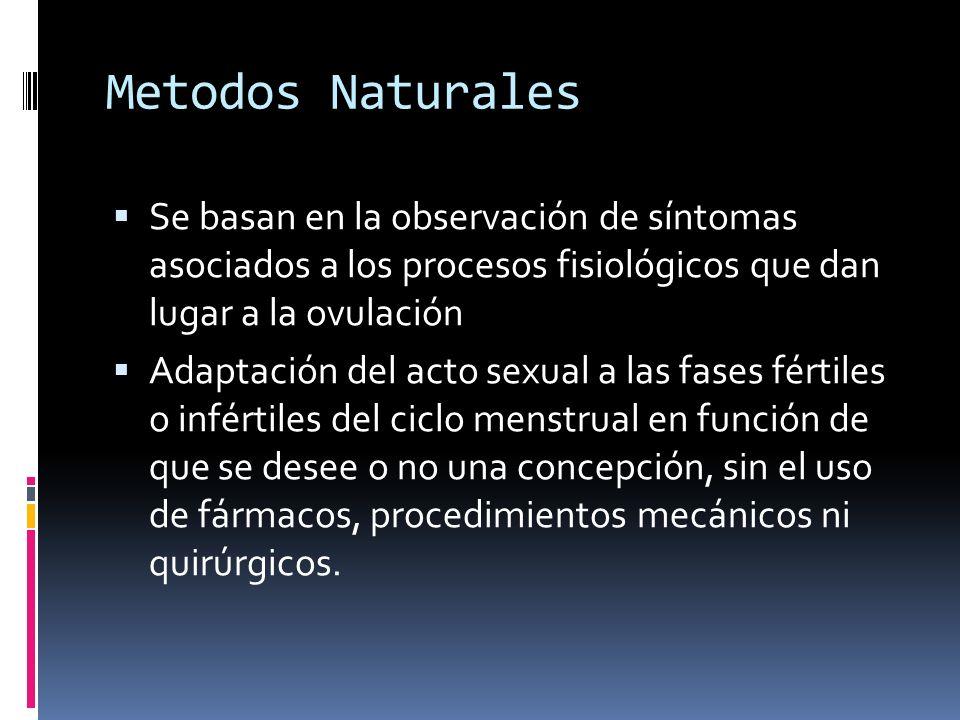 Metodos Naturales Se basan en la observación de síntomas asociados a los procesos fisiológicos que dan lugar a la ovulación.
