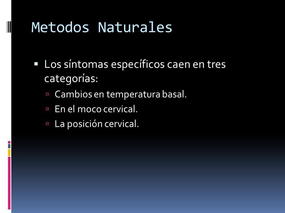 Metodos Naturales Los síntomas específicos caen en tres categorías: