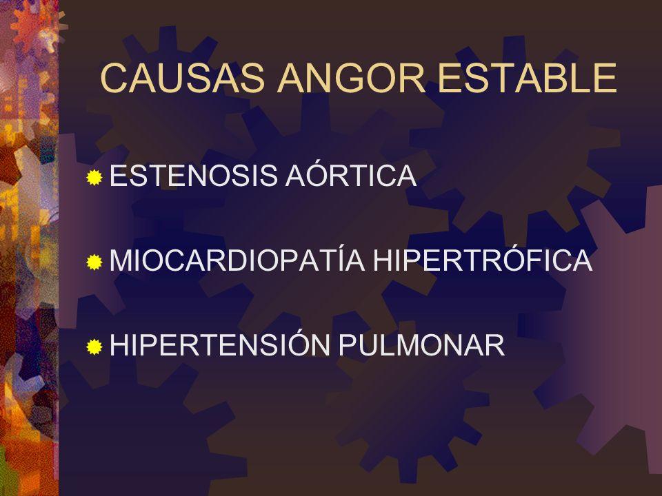 CAUSAS ANGOR ESTABLE ESTENOSIS AÓRTICA MIOCARDIOPATÍA HIPERTRÓFICA