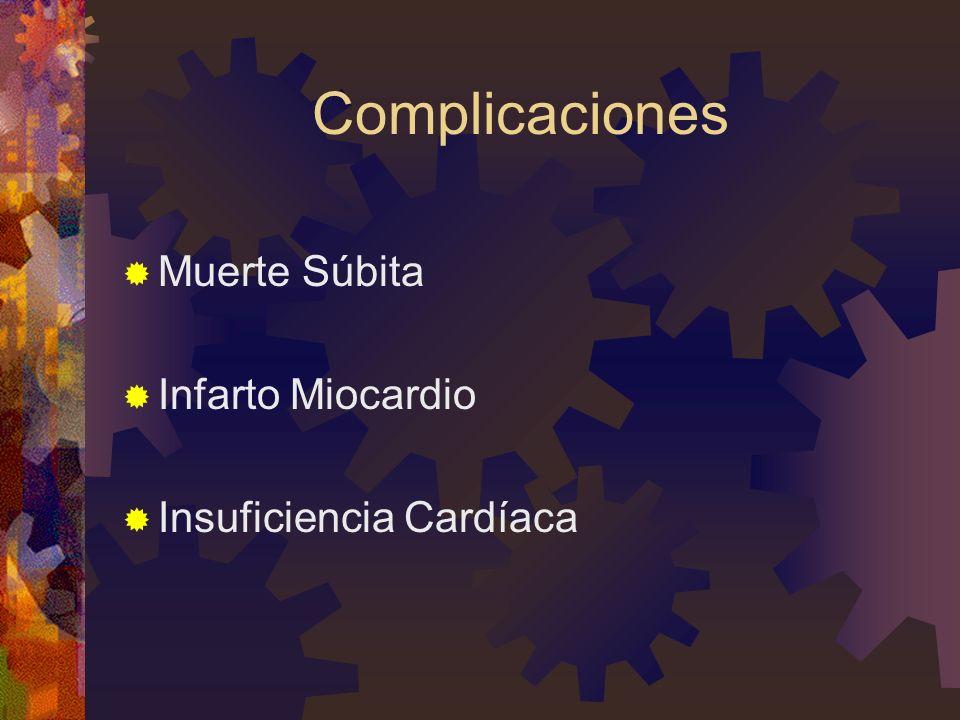 Complicaciones Muerte Súbita Infarto Miocardio Insuficiencia Cardíaca