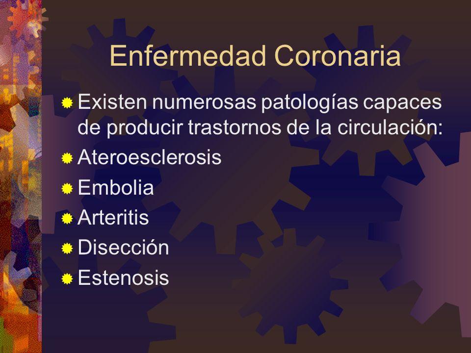 Enfermedad Coronaria Existen numerosas patologías capaces de producir trastornos de la circulación: