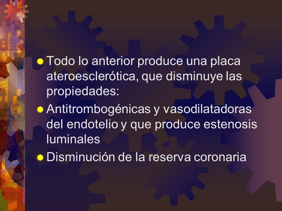 Todo lo anterior produce una placa ateroesclerótica, que disminuye las propiedades: