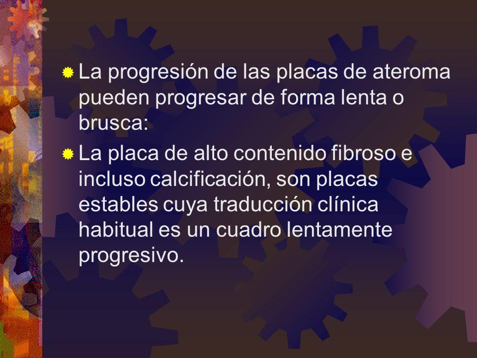 La progresión de las placas de ateroma pueden progresar de forma lenta o brusca: