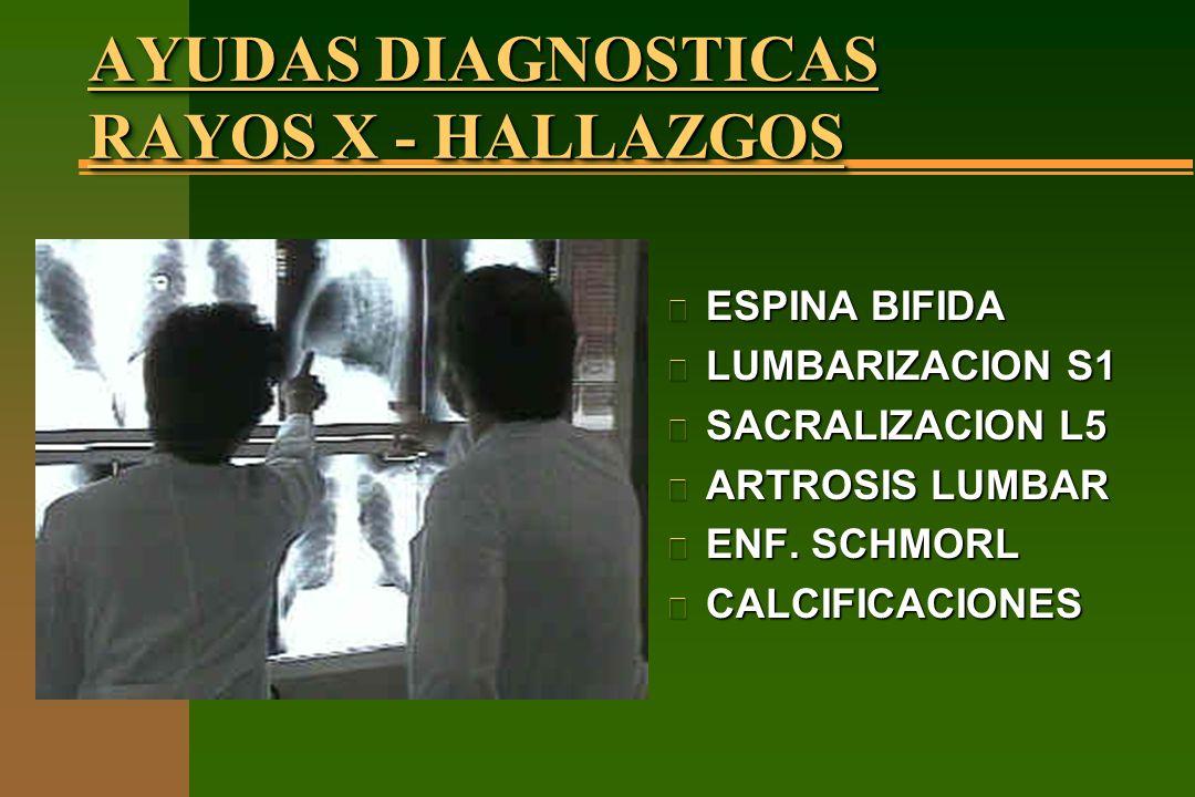 AYUDAS DIAGNOSTICAS RAYOS X - HALLAZGOS