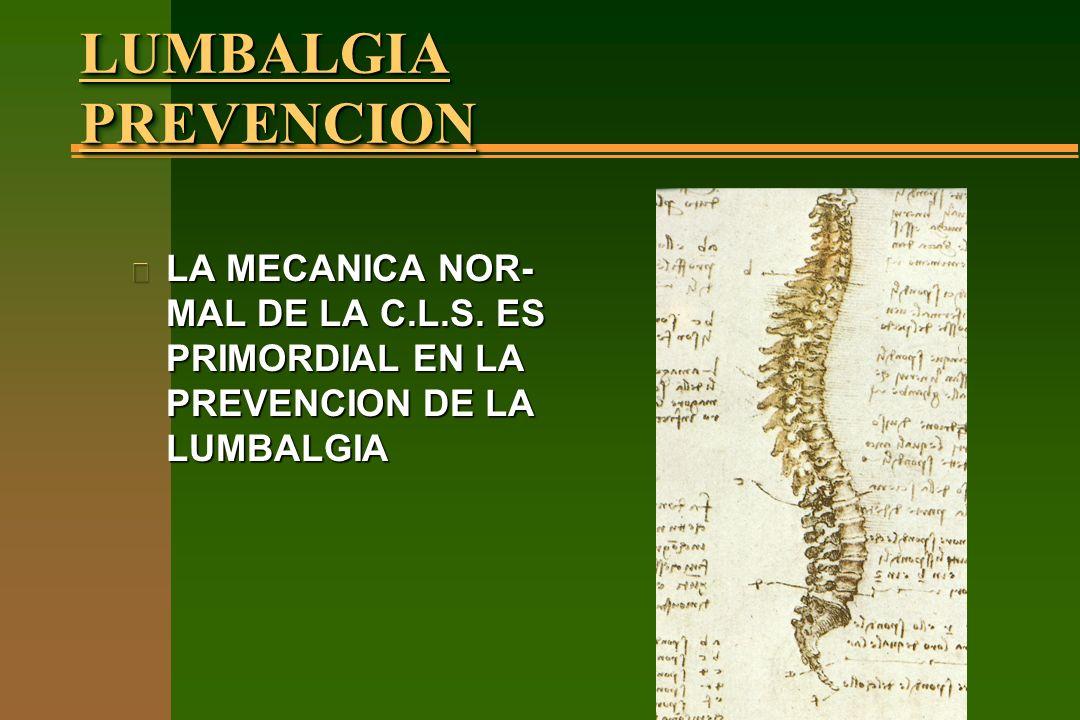 LUMBALGIA PREVENCION LA MECANICA NOR-MAL DE LA C.L.S.