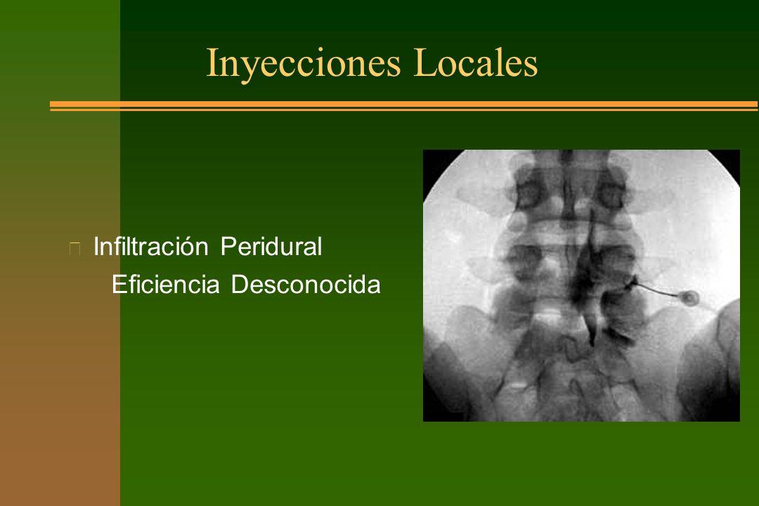 Inyecciones Locales Infiltración Peridural Eficiencia Desconocida