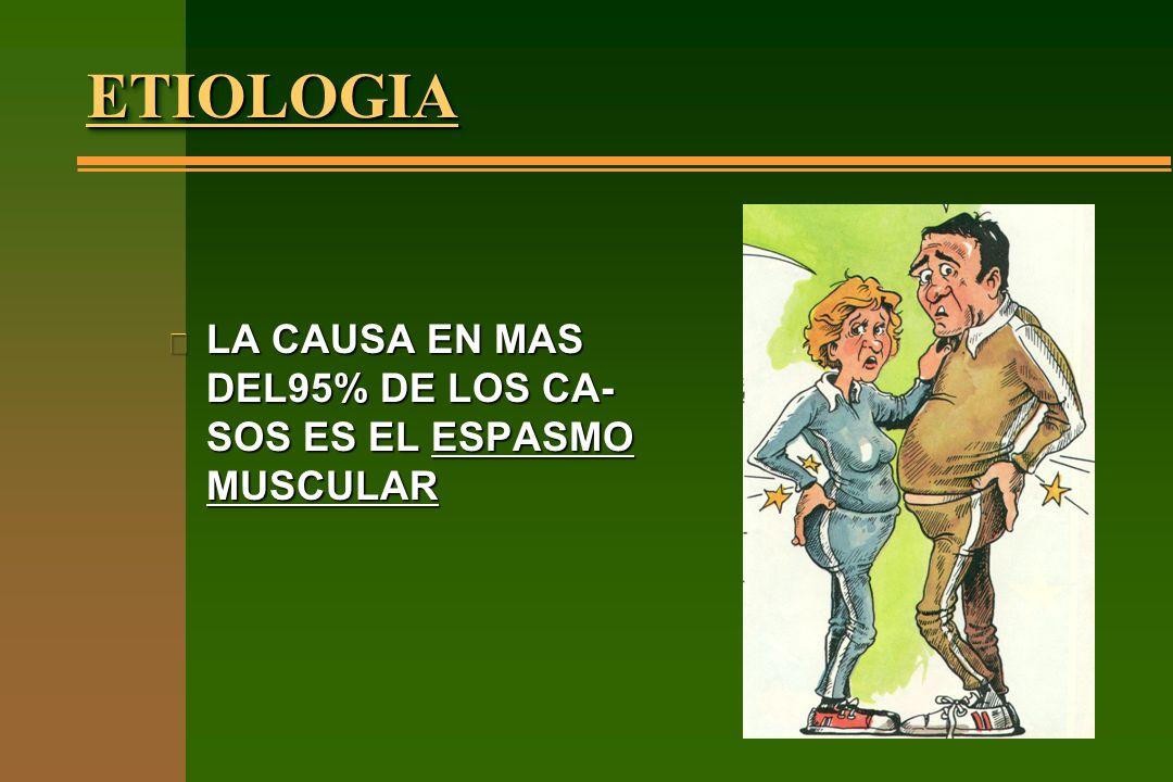 ETIOLOGIA LA CAUSA EN MAS DEL95% DE LOS CA-SOS ES EL ESPASMO MUSCULAR