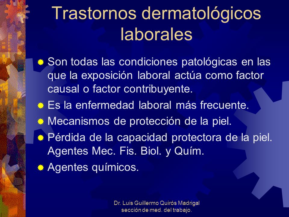 Trastornos dermatológicos laborales