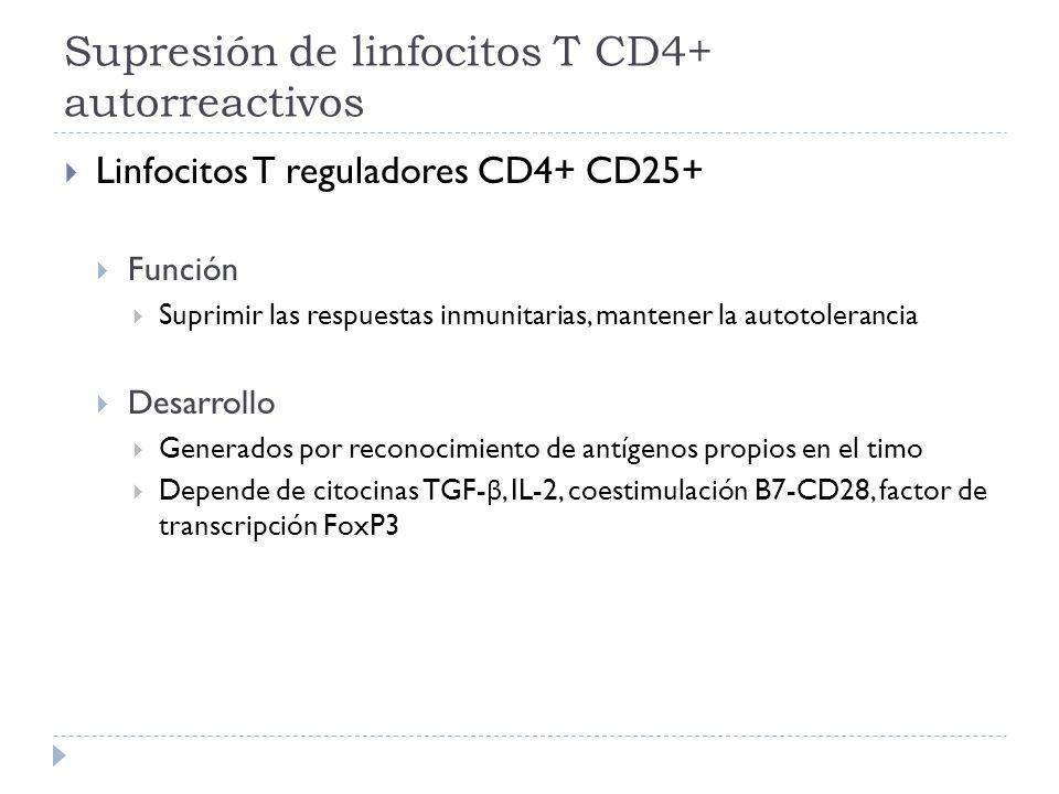 Supresión de linfocitos T CD4+ autorreactivos