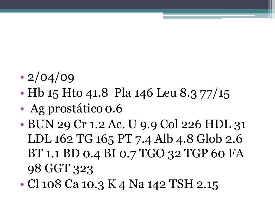 2/04/09 Hb 15 Hto 41.8 Pla 146 Leu 8.3 77/15. Ag prostático 0.6.