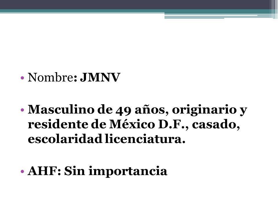 Nombre: JMNV Masculino de 49 años, originario y residente de México D.F., casado, escolaridad licenciatura.