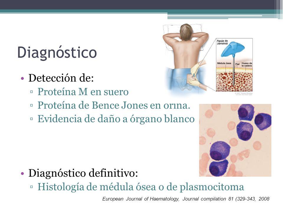 Diagnóstico Detección de: Diagnóstico definitivo: Proteína M en suero