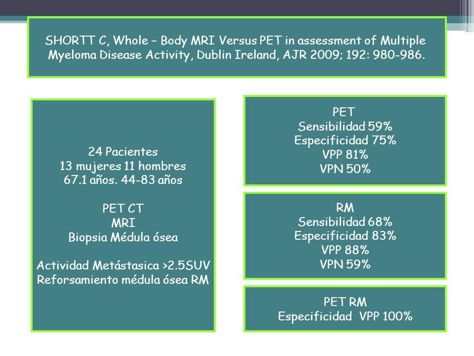 SHORTT C, Whole – Body MRI Versus PET in assessment of Multiple
