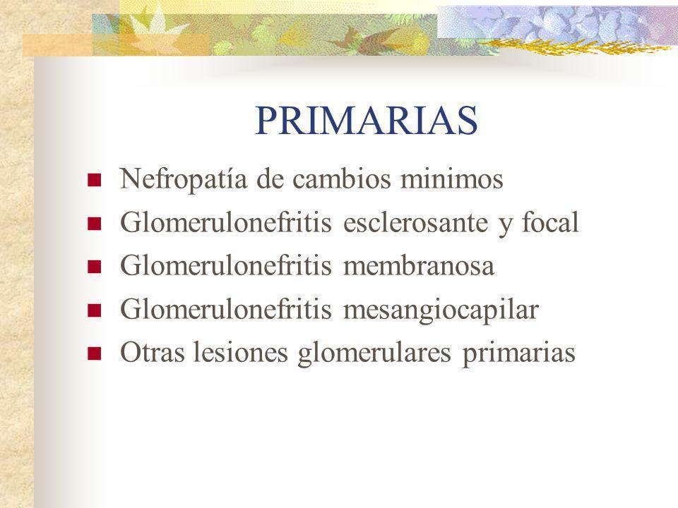 PRIMARIAS Nefropatía de cambios minimos