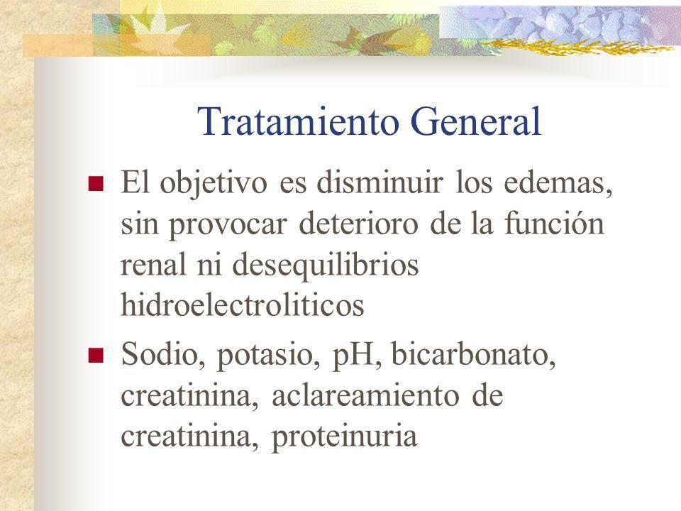 Tratamiento General El objetivo es disminuir los edemas, sin provocar deterioro de la función renal ni desequilibrios hidroelectroliticos.