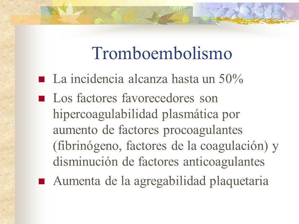 Tromboembolismo La incidencia alcanza hasta un 50%